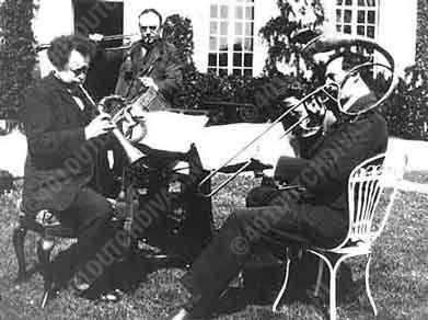 vlnr. Willem Mengelberg, Cornelis Dopper en Rudolf Mengelberg